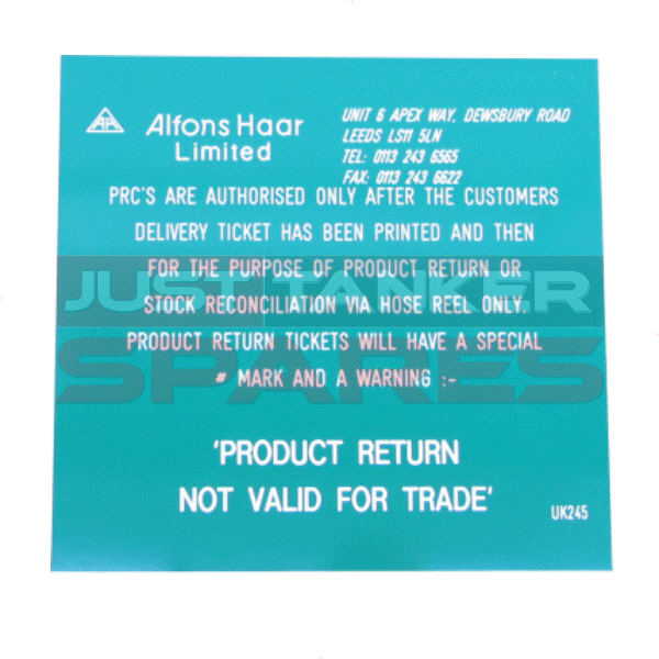 Alfons Haar Product Return Notice Label